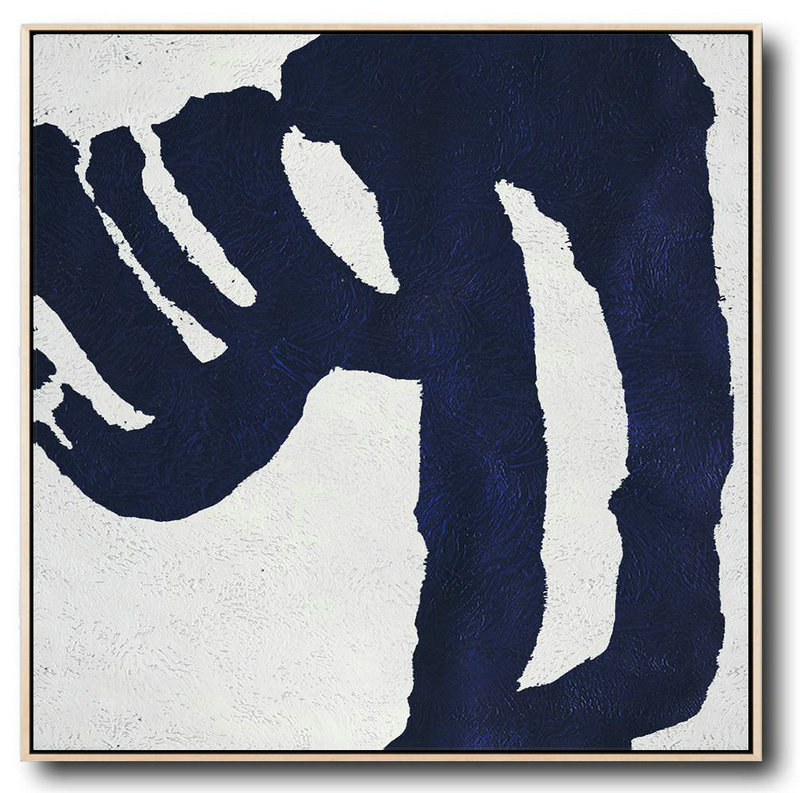 Buy Large Canvas Art Online - Hand Painted Navy Minimalist Painting On Canvas,Custom Oil Painting #A3W1