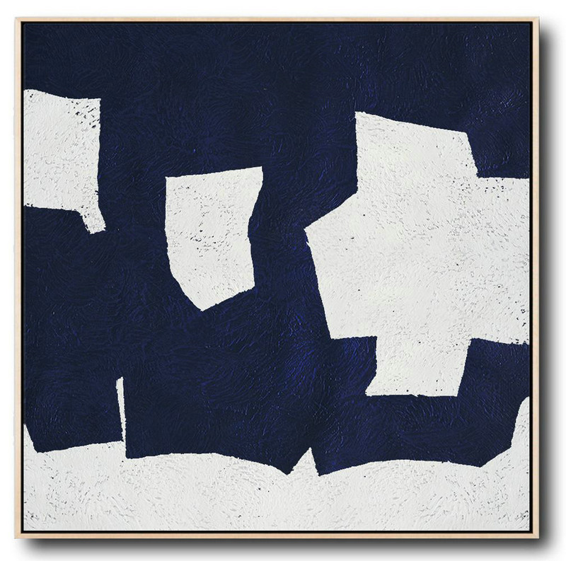 Buy Large Canvas Art Online - Hand Painted Navy Minimalist Painting On Canvas,Contemporary Canvas Paintings #C1P3