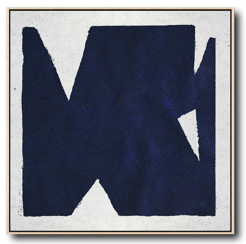Buy Large Canvas Art Online - Hand Painted Navy Minimalist Painting On Canvas,Abstract Painting For Home #D0X1