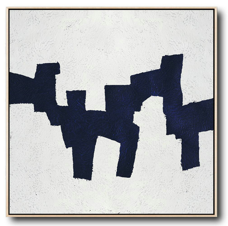 Buy Large Canvas Art Online - Hand Painted Navy Minimalist Painting On Canvas,Original Abstract Oil Paintings #Z0T2