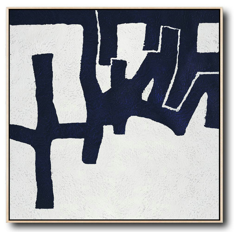 Buy Large Canvas Art Online - Hand Painted Navy Minimalist Painting On Canvas,Large Living Room Decor #K3P9