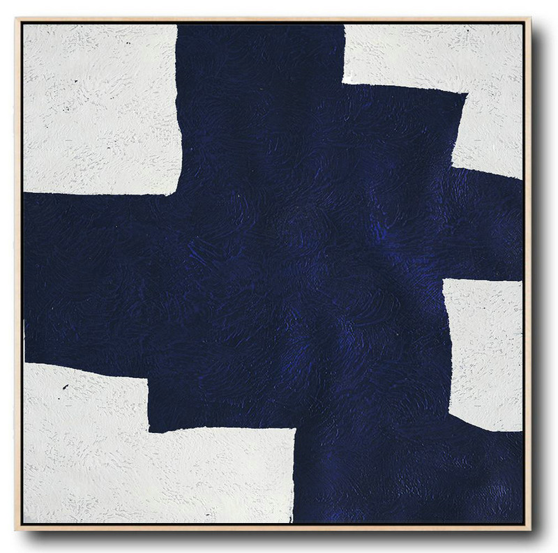 Buy Large Canvas Art Online - Hand Painted Navy Minimalist Painting On Canvas,Big Painting #J7J7
