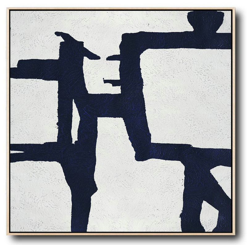Buy Large Canvas Art Online - Hand Painted Navy Minimalist Painting On Canvas,Hand Paint Large Clean Modern Art #F6B3