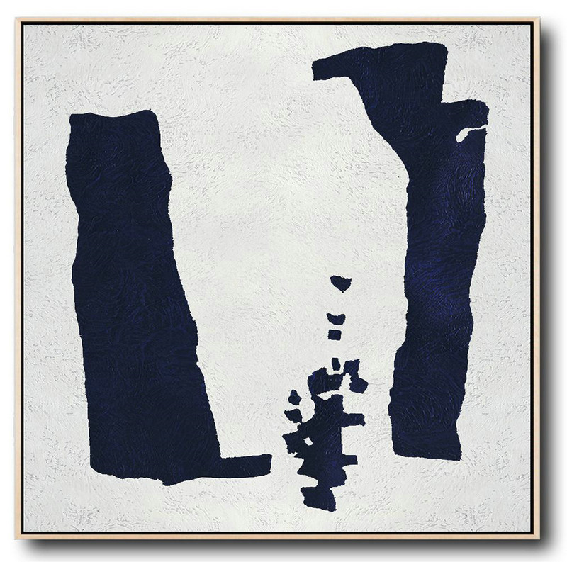 Buy Large Canvas Art Online - Hand Painted Navy Minimalist Painting On Canvas,Xl Large Canvas Art #O0O8