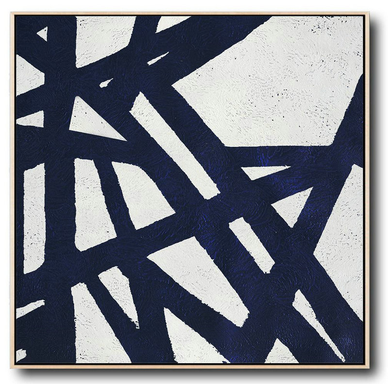 Buy Large Canvas Art Online - Hand Painted Navy Minimalist Painting On Canvas,Hand-Painted Contemporary Art #T3H8