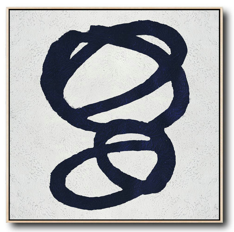 Buy Large Canvas Art Online - Hand Painted Navy Minimalist Painting On Canvas,Original Art Acrylic Painting #T7O5