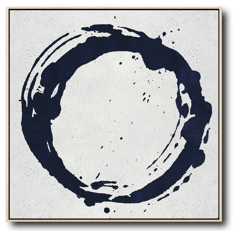 Buy Large Canvas Art Online - Hand Painted Navy Minimalist Painting On Canvas,Hand Paint Abstract Painting #J0B4
