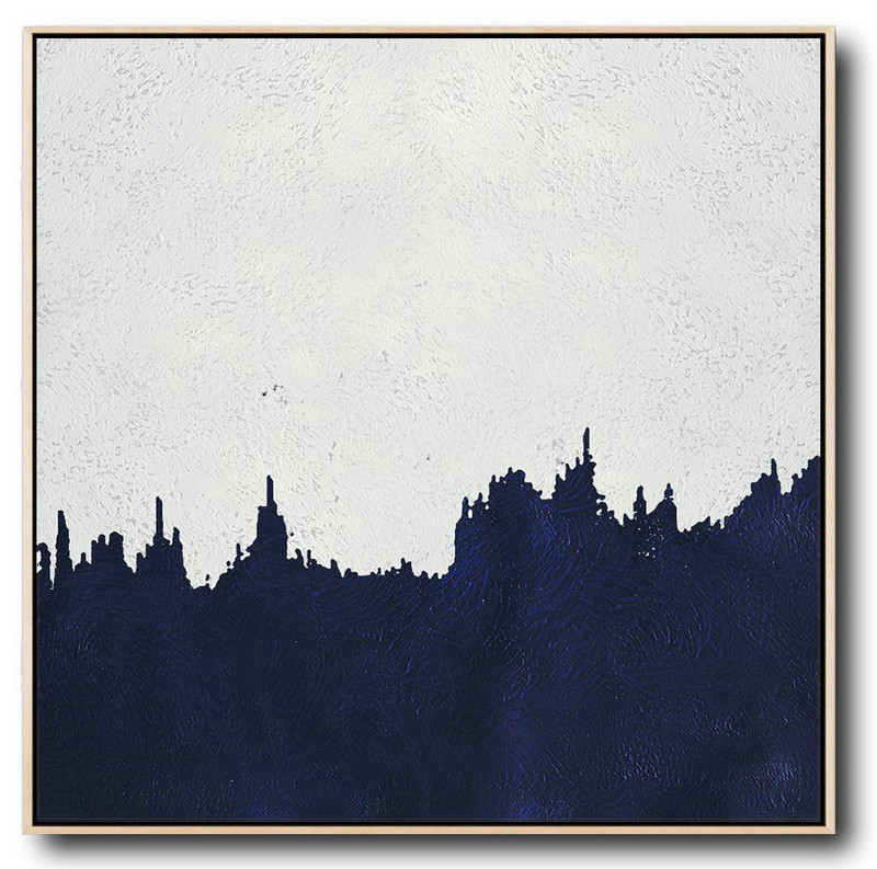 Buy Large Canvas Art Online - Hand Painted Navy Minimalist Painting On Canvas,Modern Art Abstract Painting #V5T3