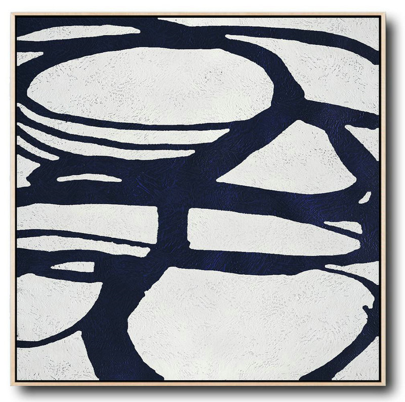 Buy Large Canvas Art Online - Hand Painted Navy Minimalist Painting On Canvas,Hand Painted Abstract Art #E6D5
