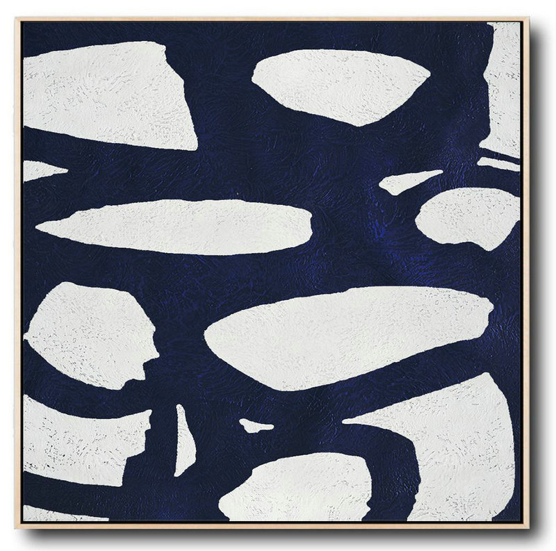 Buy Large Canvas Art Online - Hand Painted Navy Minimalist Painting On Canvas,Hand-Painted Canvas Art #H3U0