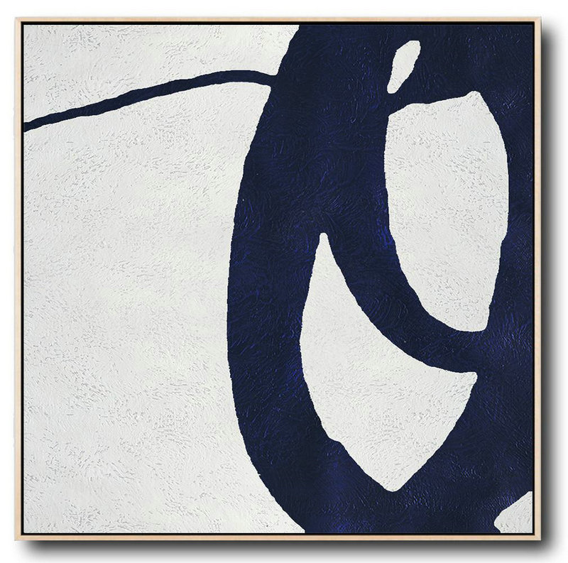 Buy Large Canvas Art Online - Hand Painted Navy Minimalist Painting On Canvas,Hand Painted Abstract Art #Q7Q2
