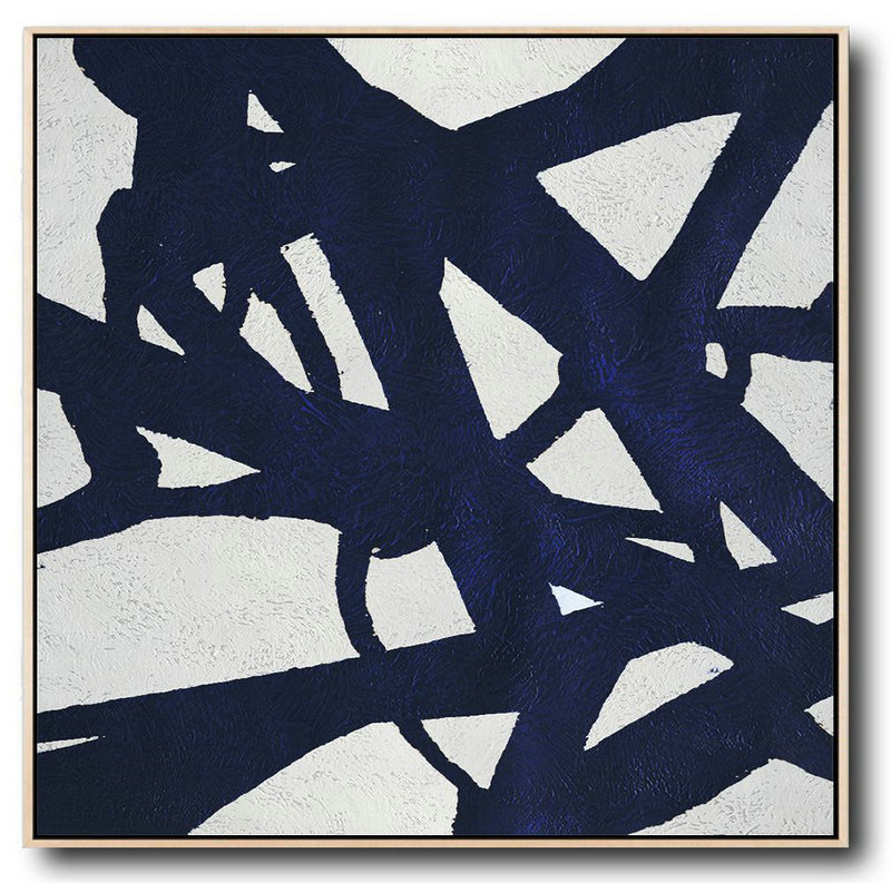 Buy Large Canvas Art Online - Hand Painted Navy Minimalist Painting On Canvas,Hand-Painted Canvas Art #X4O9