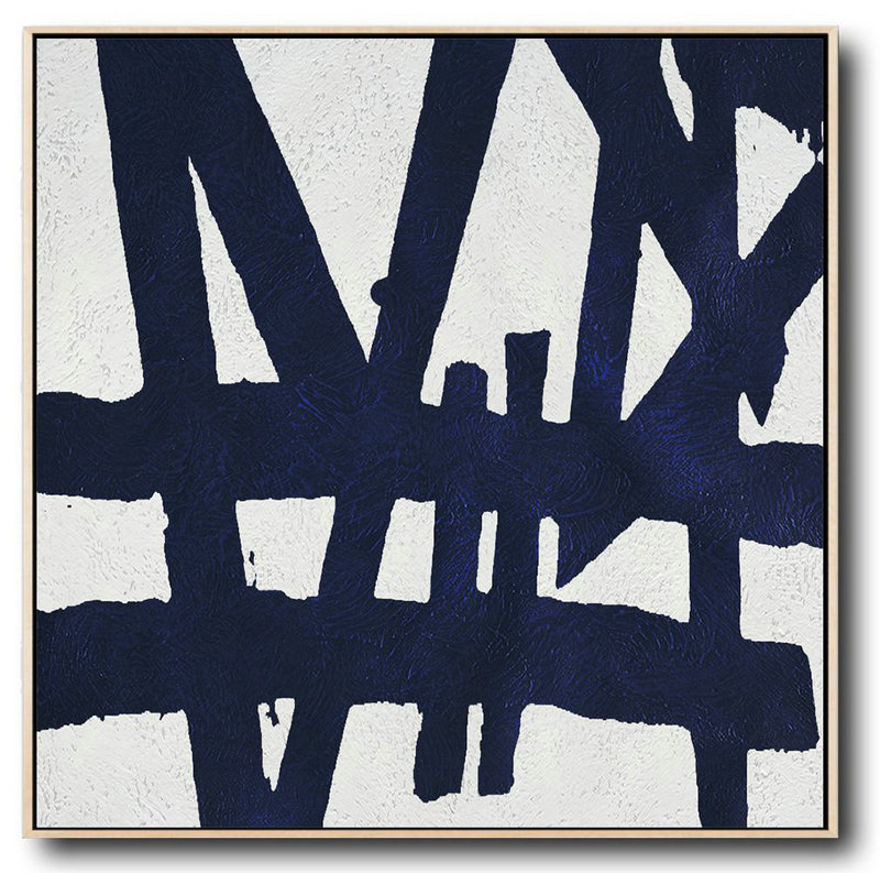 Buy Large Canvas Art Online - Hand Painted Navy Minimalist Painting On Canvas,Huge Abstract Canvas Art #J2B4