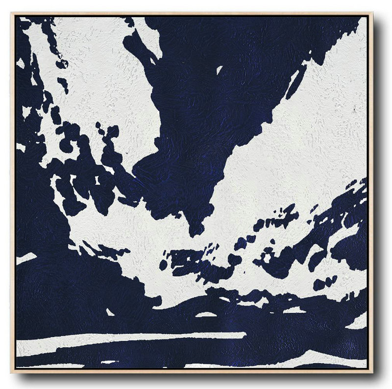 Buy Large Canvas Art Online - Hand Painted Navy Minimalist Painting On Canvas,Acrylic Painting Large Wall Art #S1Y9