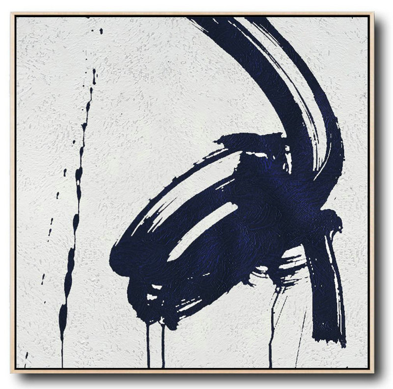Buy Large Canvas Art Online - Hand Painted Navy Minimalist Painting On Canvas,Big Canvas Painting #B1K6