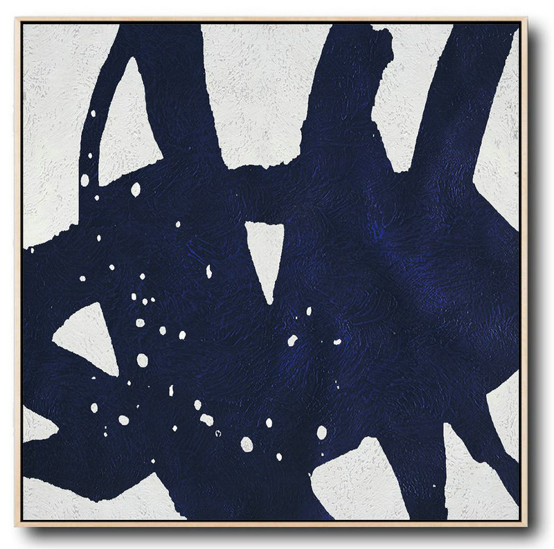 Buy Large Canvas Art Online - Hand Painted Navy Minimalist Painting On Canvas,Large Oil Canvas Art #N2X5