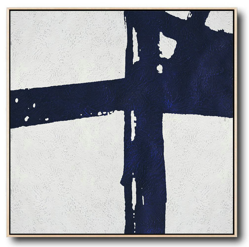 Buy Large Canvas Art Online - Hand Painted Navy Minimalist Painting On Canvas,Extra Large Artwork #P4Q9
