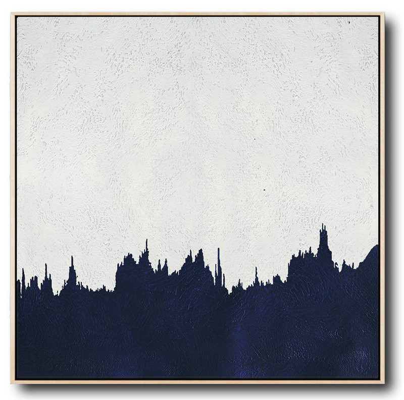 Buy Large Canvas Art Online - Hand Painted Navy Minimalist Painting On Canvas,Large Wall Canvas #B4N8