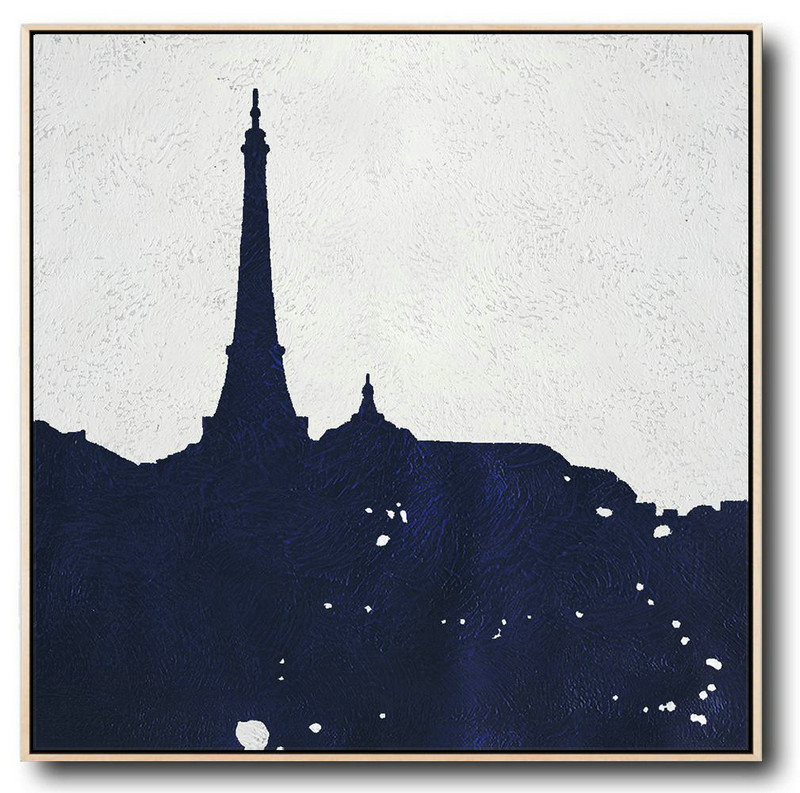 Buy Large Canvas Art Online - Hand Painted Navy Minimalist Painting On Canvas,Huge Canvas Art On Canvas #V2E9