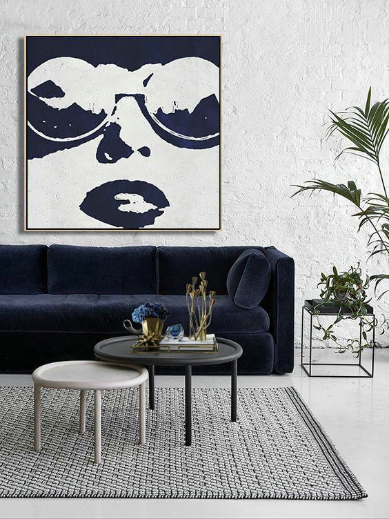 Buy Large Canvas Art Online - Hand Painted Navy Minimalist Painting On Canvas,Acrylic Painting On Canvas #Q9P8
