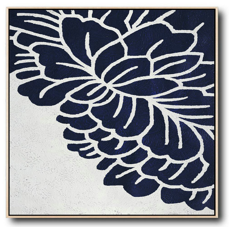 Buy Large Canvas Art Online - Hand Painted Navy Minimalist Painting On Canvas,Handmade Large Painting #H1M3