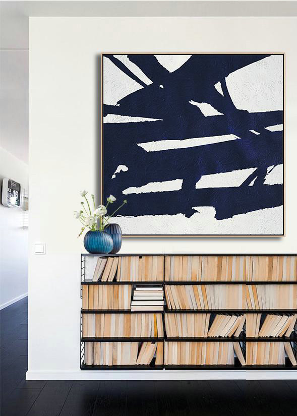 Buy Large Canvas Art Online - Hand Painted Navy Minimalist Painting On Canvas,Contemporary Wall Art #W1Z7