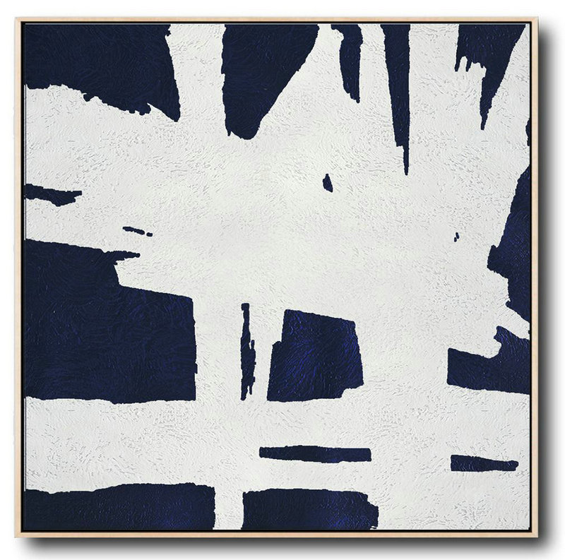 Buy Large Canvas Art Online - Hand Painted Navy Minimalist Painting On Canvas,Large Canvas Art #W3V7