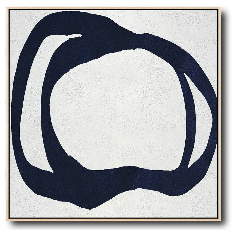 Buy Large Canvas Art Online - Hand Painted Navy Minimalist Painting On Canvas,Modern Paintings On Canvas #M0T9