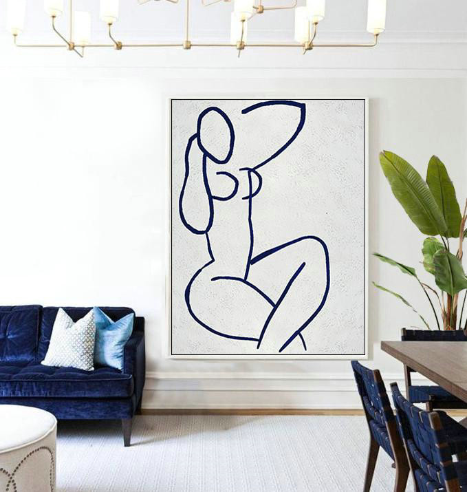 Buy Hand Painted Navy Blue Abstract Painting Nude Art Online,Large Abstract Wall Art #Q4Z2