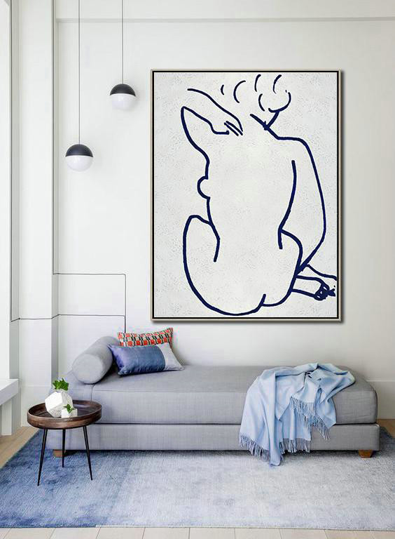 Buy Hand Painted Navy Blue Abstract Painting Nude Art Online,Acrylic Painting Wall Art #D7F6