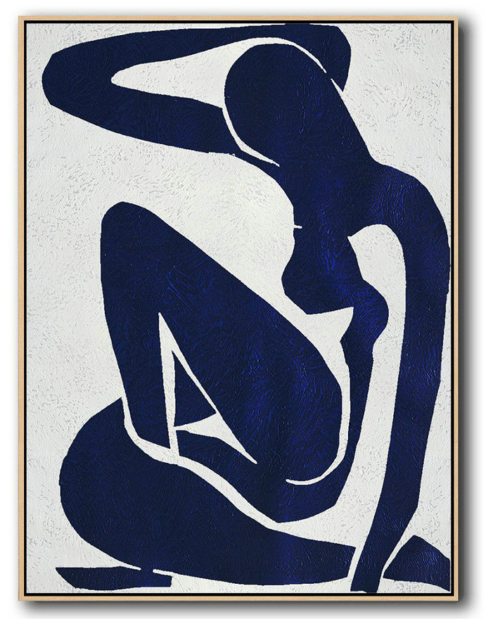 Buy Hand Painted Navy Blue Abstract Painting Nude Art Online,Big Canvas Painting #H3G6