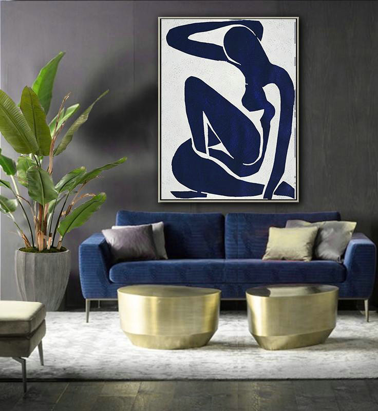 Buy Hand Painted Navy Blue Abstract Painting Nude Art Online Large Living Room Wall Decor Y0v9 Large Canvas Art,Simple South Indian Baby Shower Decorations