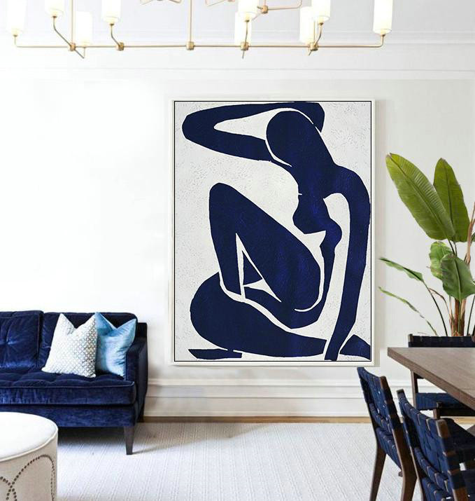 Buy Hand Painted Navy Blue Abstract Painting Nude Art Online,Large Living Room Wall Decor #Y0V9