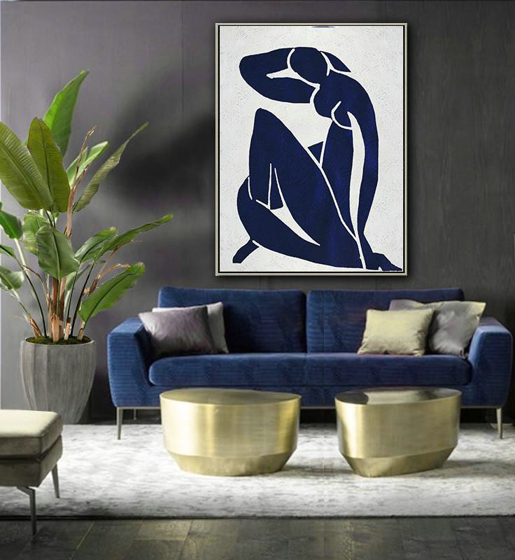 Buy Hand Painted Navy Blue Abstract Painting Nude Art Online,Hand-Painted Canvas Art #J5I8