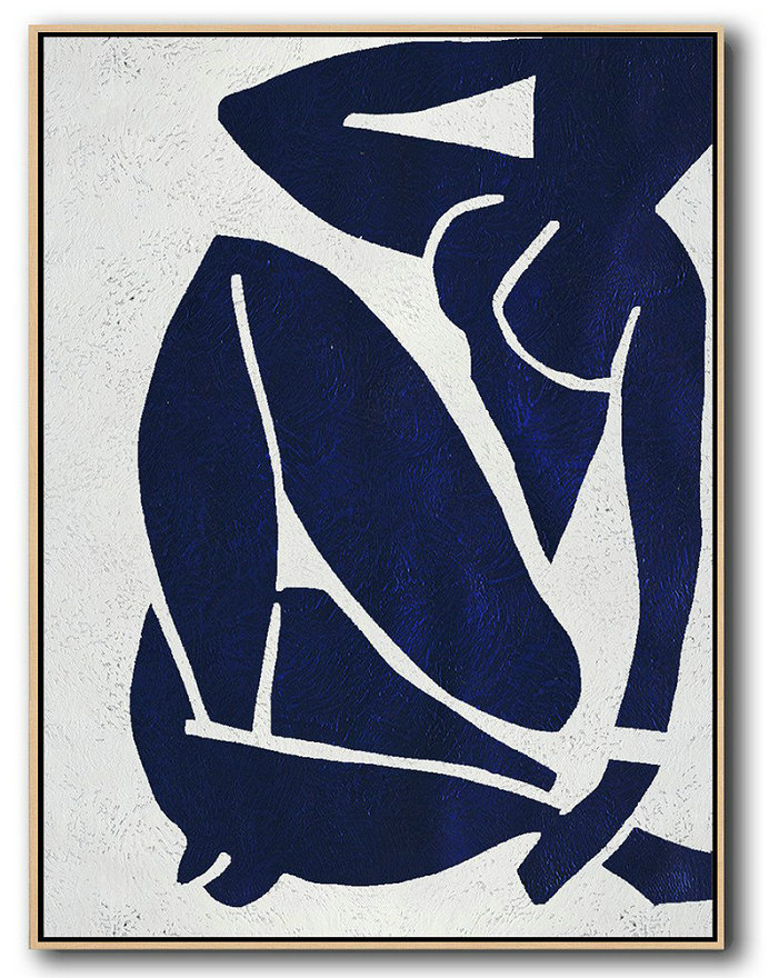 Buy Hand Painted Navy Blue Abstract Painting Nude Art Online,Colorful Wall Art #X2J1