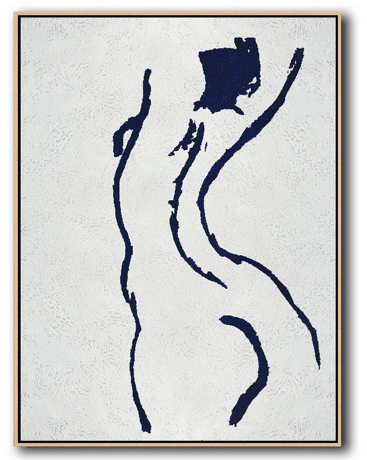 Buy Hand Painted Navy Blue Abstract Painting Nude Art Online,Canvas Paintings For Sale #N3D1