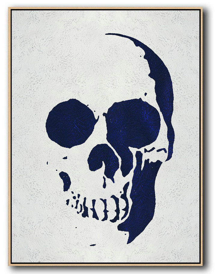Buy Hand Painted Navy Blue Abstract Painting Skull Art Online,Original Art #D8Y0