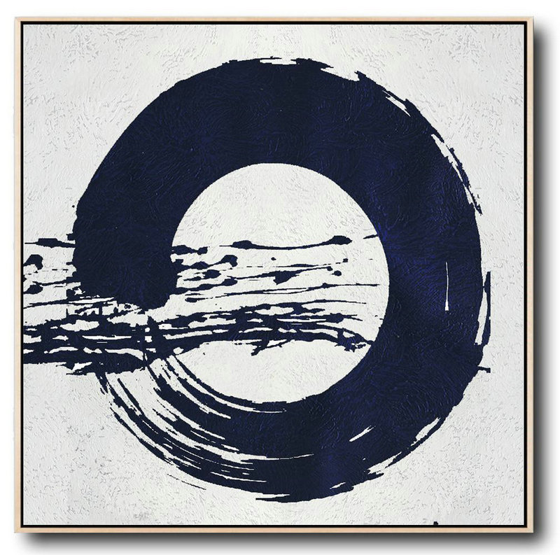 Buy Large Canvas Art Online - Hand Painted Navy Minimalist Painting On Canvas,Large Canvas Wall Art For Sale #T9Z9