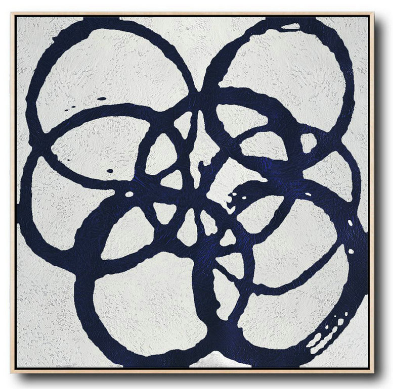 Minimalist Navy Blue And White Painting,Hand Painted Aclylic Painting On Canvas #M1T6