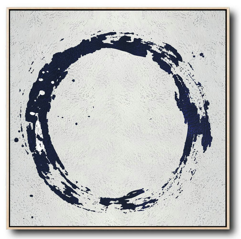 Minimalist Navy Blue And White Painting,Modern Paintings #X2G3