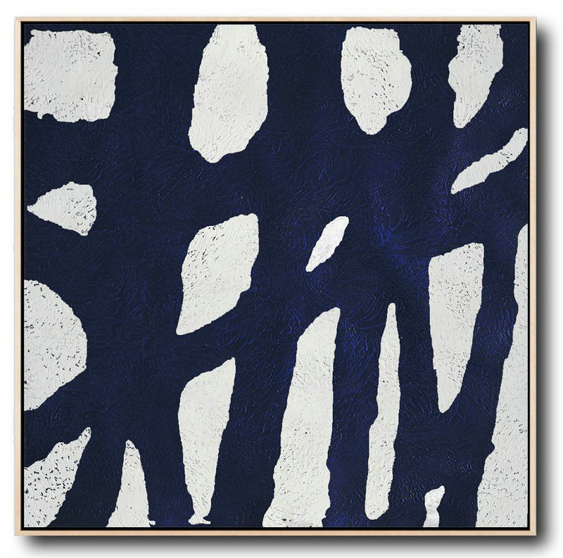 Hand-Painted Oversized Minimalist Navy Blue And White Painting,Modern Wall Art #O1T3