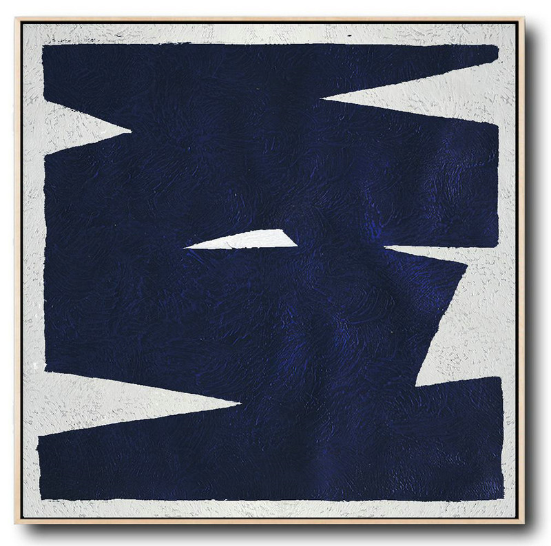 Minimalist Navy Blue And White Painting,Extra Large Artwork #F1O8