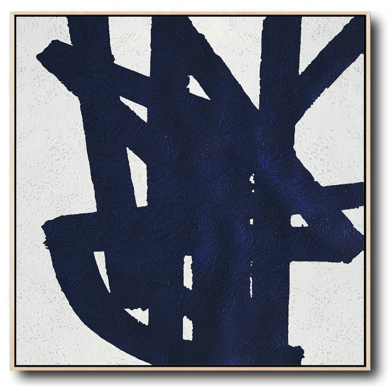 Minimalist Navy Blue And White Painting,Huge Canvas Art On Canvas #C1Z4