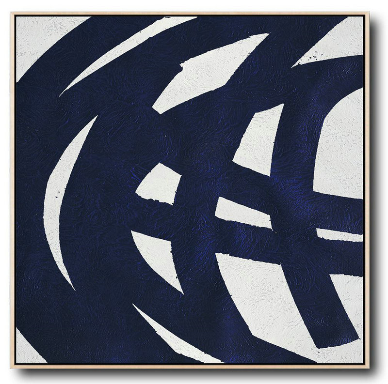 Minimalist Navy Blue And White Painting,Acrylic Painting On Canvas #O1Q2