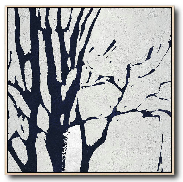 Minimalist Navy Blue And White Painting,Large Abstract Painting #Q5J1