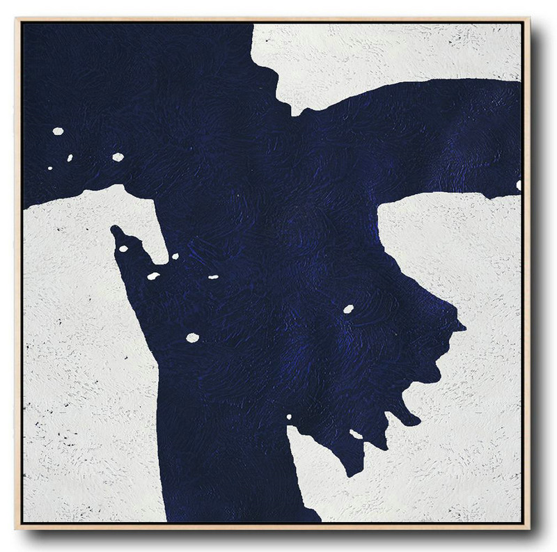 Minimalist Navy Blue And White Painting,Huge Wall Decor #N9Q0