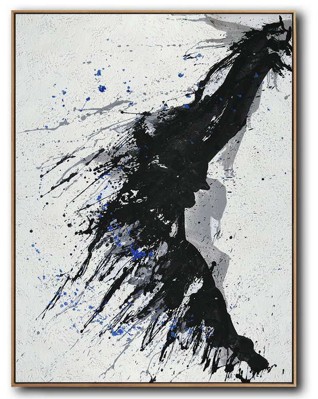 Hand-Painted Black And White Minimal Painting,Large Contemporary Painting #G6N9