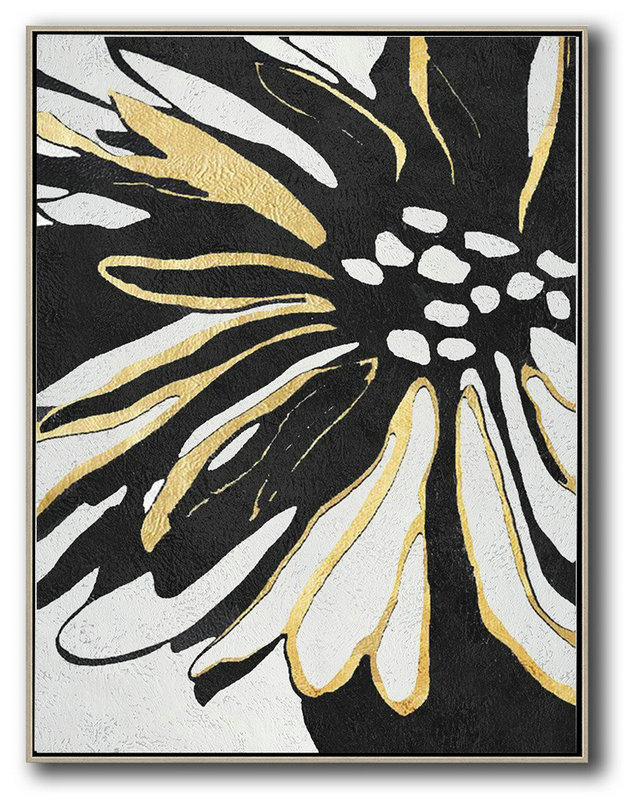 Hand-Painted Black And White Minimal Painting,Big Art Canvas #E9I2