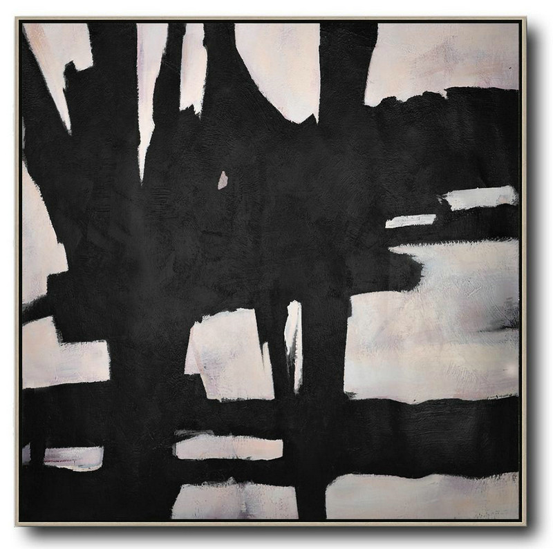 Hand-Painted Oversized Minimal Black And White Painting,Large Canvas Art #S1K5