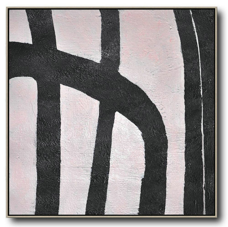 Hand-Painted Oversized Minimal Black And White Painting,Handmade Acrylic Painting #C7X4